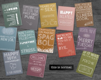 this is normal - Fun and Quirky Greetings Cards - 5 cards pick & mix .