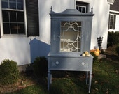 French Provincial, Cottage Chic, French Country Vintage China Hutch - Paris Gray & Cottage Cream