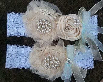 Bridal Garter, Wedding Garter and Toss Garter -Something Blue/Ivory Cream Garter Set with Pearl & Rhinestone - Style G219