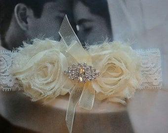 Wedding Garter - Bridal Garter - Ivory Wedding Toss Garter with Rhinestone - Style TG103