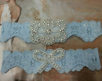 Bridal Garter, Wedding Garter and Toss Garter - Something Blue Garter Set with Crystal Rhinestone - Style G240