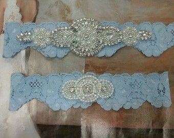SALE - Bridal Garter, Wedding Garter and Toss Garter - Something Blue with Pearl and Rhinestone - Style G207