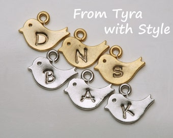 initialed baby bird,tiny bird charm, Hand stamped bird charm,monogram bird charm,