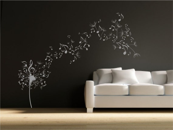 Dandelion clock seeds music note wall decal by wallsmartdesigns - Music note wallpaper for walls ...