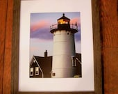 Nobska Lighthouse Number 2 in Up Cycled Brown Frame 16x20 - Cape Cod Art-Beach Theme-Sunset - MuttiArtography