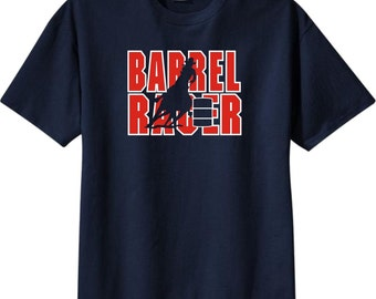 Barrel Racing Horse and Rider Rodeo Navy Blue T-Shirt