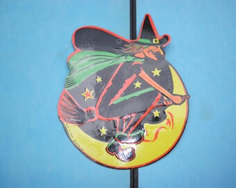 Die Cut, Scary Witch ,Decoration, Made In The USA, Beistle, Halloween, 1960s, Witch on Broom, Full Moon