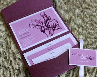 Lliac Wedding Invite 5x7 Pocketfold, wedding stationary with RSVP, flowers, wedding seal, ribbon, customize wedding invite