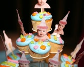 Pink birthday hat photo cupcake toppers 1.