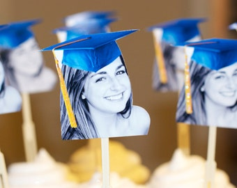 Personalized graduation hat photo cupcake toppers