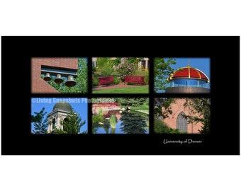 University of Denver CO print, 20x10 UNframed photography, DU college photo, black background