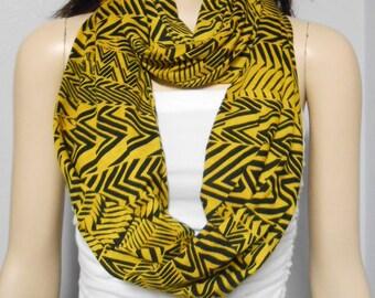 Tribal Print Infinity Scarf  Black & Golden Jersey Knit