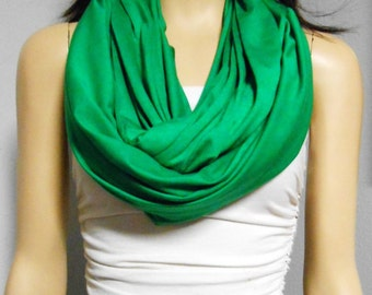 Fabulous Green Infinity Scarf SUPER Soft Knit