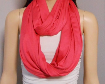 Infinity Scarf  Pinkish Coral Super Soft Knit