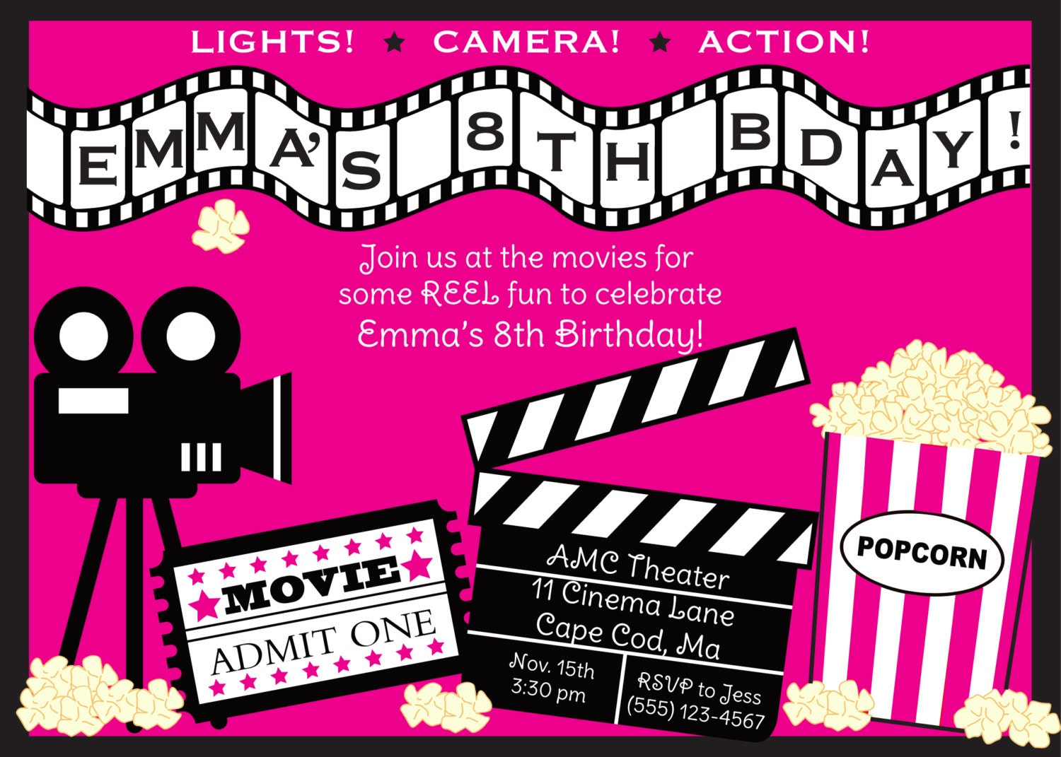 Invitation Templates 2015 This Free Printable Movie Birthday Party Shop Is On Vacation