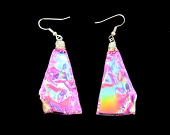 Purple Triangle Recycled CD Earrings