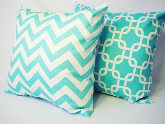 2 Coordinating Decorative Throw Pillow Covers In Teal Blue And