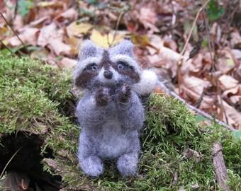 Handmade Needle Felted Animals Wool Woodland Raccoon