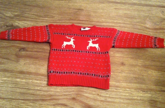 Holiday Christmas Sweater Red Reindeer 24 Months 2T Childrens Boys Girls
