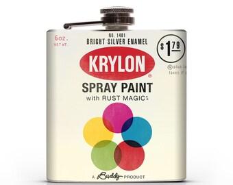 Vintage Krylon Spraycan  - 6oz or 8oz Whiskey Hip Flask