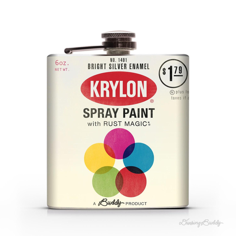 Vintage Krylon Spraycan 6oz Or 8oz Whiskey Hip Flask
