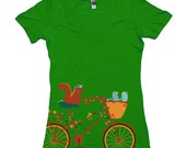 cute tee, Woodland, cottage chic, Squirrel tshirt, bluebirds, Bike, kelly green Deep V, Available S M L XL 2XL