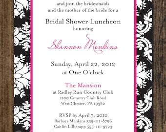Damask Bridal Shower Invitation, printable file