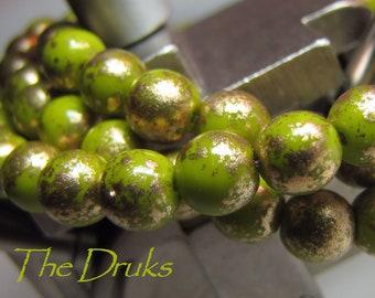 Round Beads 6mm Green Avocado & Gold (045)