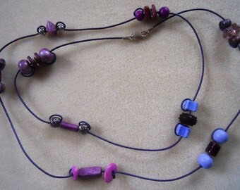 Purple beaded double wrap necklace