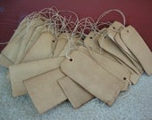 50 Primitive Stained Hang Tags, sized 4 3/4 x 2 3/8, Vintage Tags, Antique Tags, Escort Cards