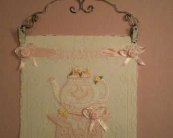 Victorian Lace Teapot Wall Hanging