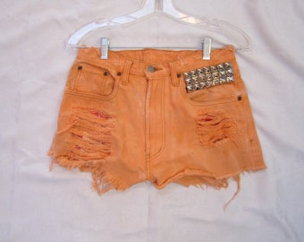 Vintage denim high waisted studded shorts