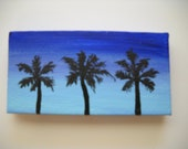 "Original Hand Painted 2x4 inch Mini Canvas Magnet - ""3 Palms"""