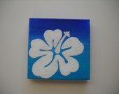 "Original Hand Painted 3x3 inch Mini Canvas Magnet - ""Aloha"""