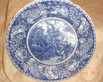 Old Blue Staffordshire Commemorative Plate