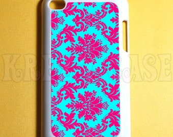 Ipod Touch 4 Case -  Damask Floral Pattern pink and turquoise Ipod 4G Touch Case, 4th Gen Ipod Touch Cases