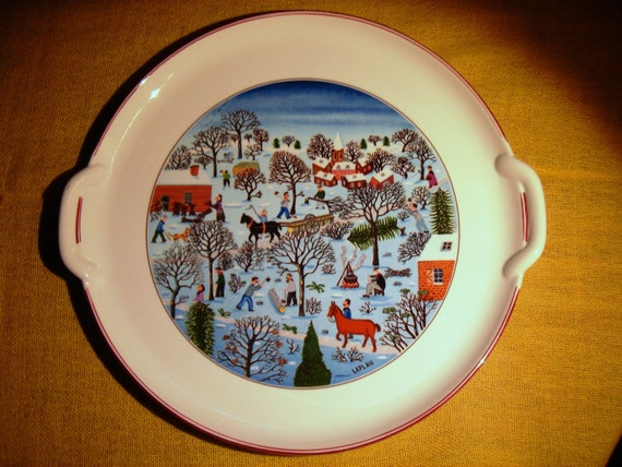 Villeroy boch naif christmas cake plate with handles platter for Villeroy boch christmas