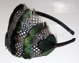 Green Black and White Spotted Feather Headband Fascinator Polka Dot Feathers Slim Hair Band Handmade Hair Accessory 'Emily'