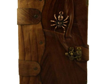 Spider Cast On A Brown Leather Journal / Notebook / Diary / Sketchbook / Leatherbound