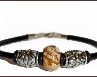 Leather Bracelet with Choice of Natural Colored Rondelle