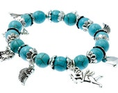 Turquoise and Silver Beaded ANGEL and HEARTS Stretch Bracelet