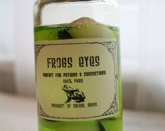 "Glass Jar of ""Frogs Eyes"" Halloween Decoration/Prop Faux/Fake apothecary spells, potions, witchcraft"