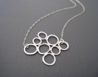 Multi Bubble Necklace in STERLING SILVER CHAIN--Perfect Gift, gift for mom,gift for friends, Birthday Present for her.