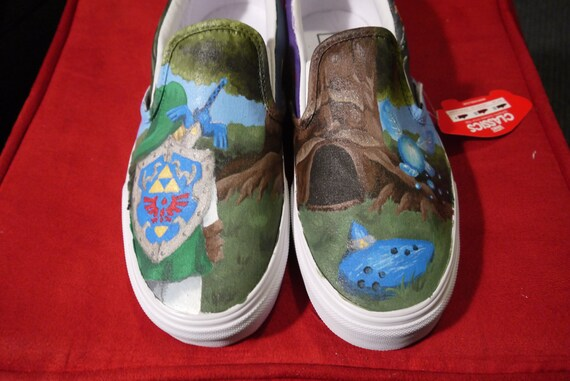 "Hand Painted Zelda Ocarina of Time Shoes ""Custom Order"""