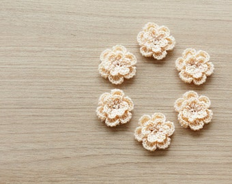 6 pcs of light brown crocheted flowers, 24mm