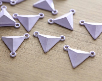10 pcs of Pastel Lavender Triangle Zinc Alloy Pendants - Pastel Color - 20 mm