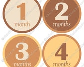 """Printable stickers Monthly Baby Girl Boy Neutral Unisex 4"""" circles on 8,5 x 11"""" sheet beige Brown Yellow Digital Collage Sheet cf00007-3"""