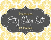 Damask Etsy Shop Set Premade - Premium 12 Piece Set Includes Business Card and Facebook Timeline Cover Photo - Gray and Yellow
