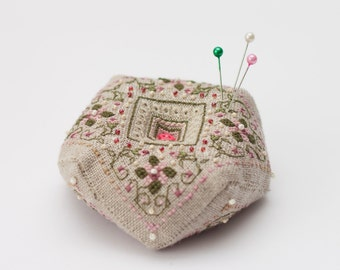 PIN CUSHION  biscornu with cross stitch flowers