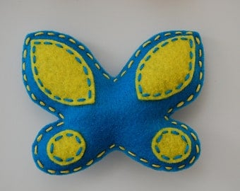 Felt magnets, Felt butterfly magnet.  Set of 2.